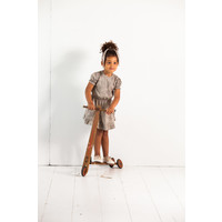 House of Jamie Frill Dress Charcoal Little Leopard