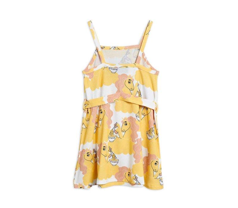 Mini Rodini Unicorn noodles tank dress Yellow