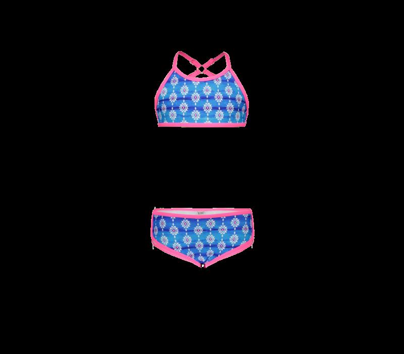 Just Beach Girls bikini with fancy strap backside Surfer sea symbols
