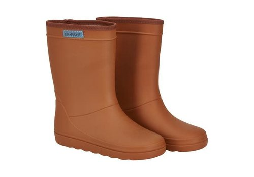 Enfant Enfant Rubber Rain Boot Solid Leather Brown