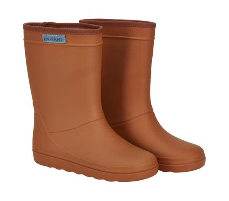 Enfant Rubber Rain Boot Solid Leather Brown