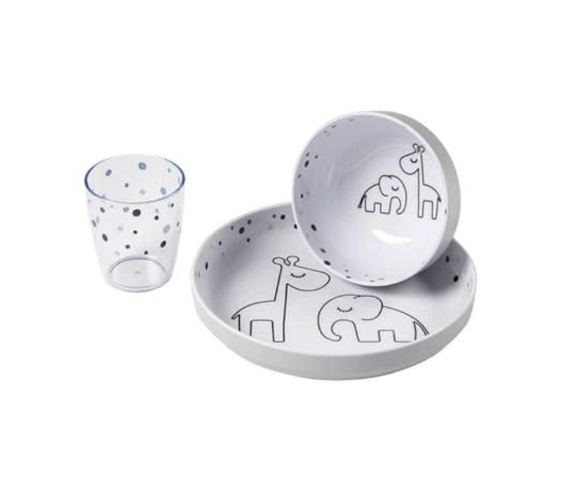 Done by deer Yummy mini dinner set Dreamy dots Grey