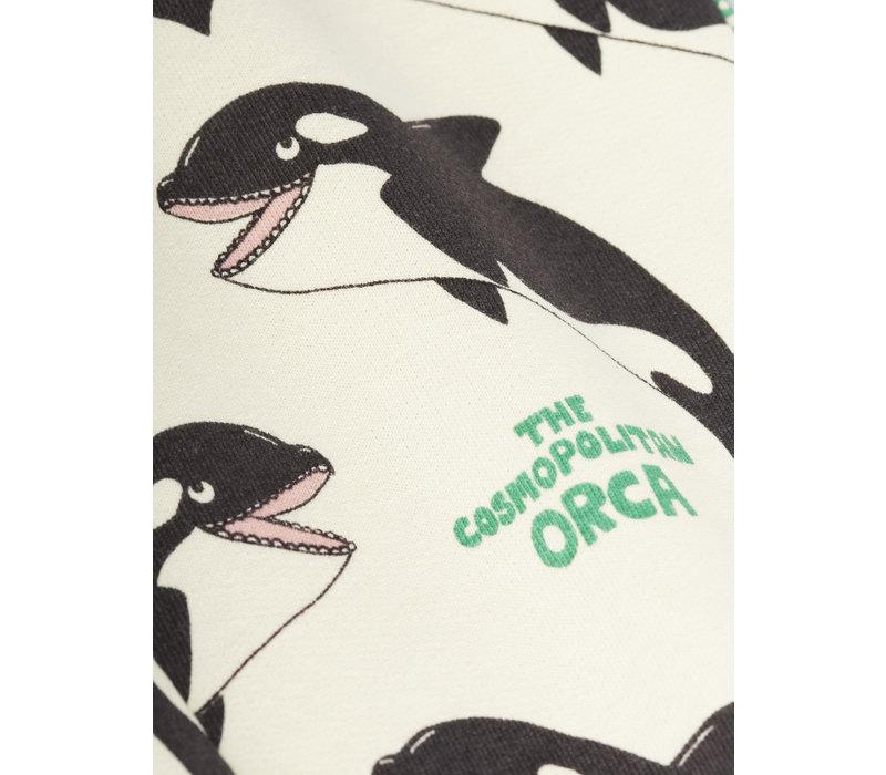 Mini Rodini Orca aop zip hoodie Offwhite