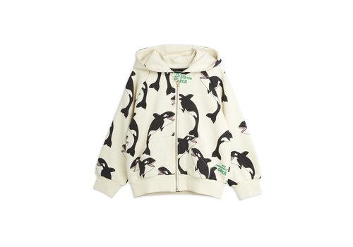 Mini Rodini Mini Rodini Orca aop zip hoodie Offwhite