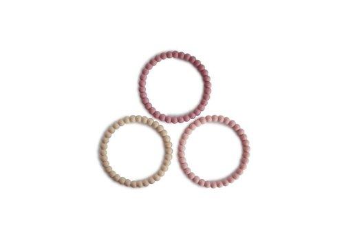 Mushie Mushie Siliconen parel armbandjes/bijtringen  Linen, Peony & Pale pink