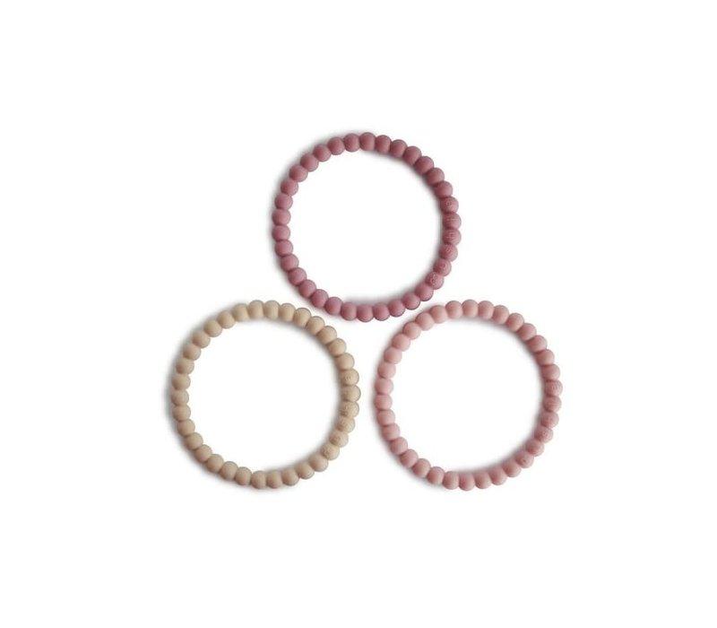 Mushie Siliconen parel armbandjes/bijtringen  Linen, Peony & Pale pink