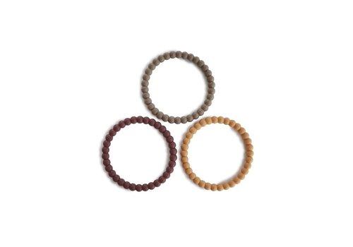 Mushie Mushie Siliconen parel armbandjes/bijtringen  berry, marigold & khaki