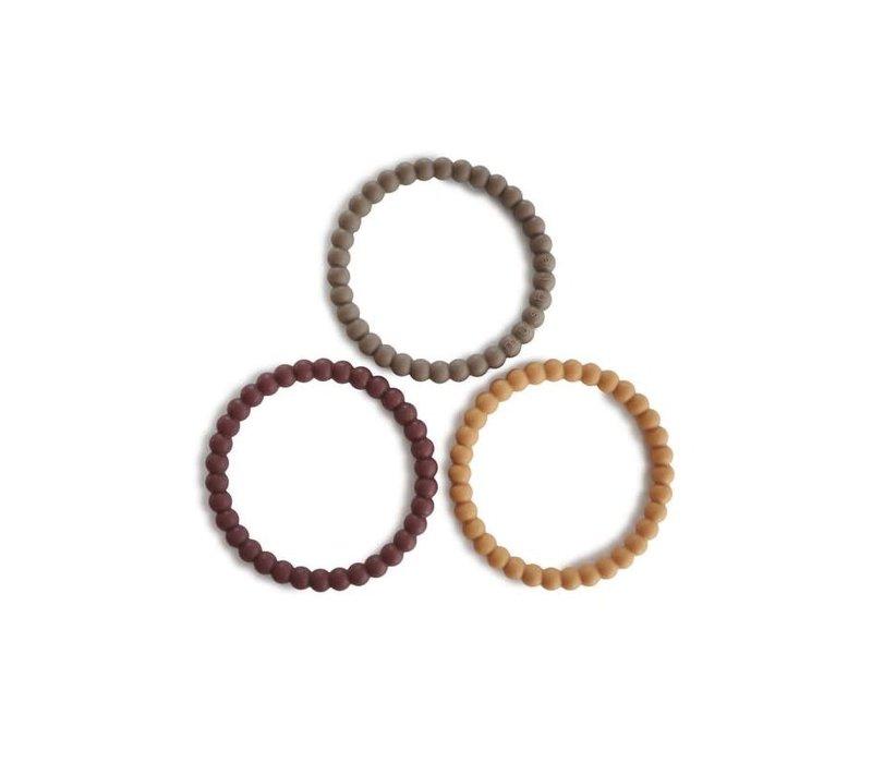 Mushie Siliconen parel armbandjes/bijtringen  berry, marigold & khaki