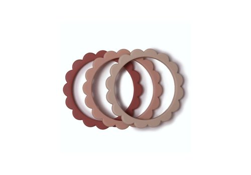 Mushie Mushie Siliconen bloemen armbandjes/bijtringen  Blush, Rose & Sh.Sand