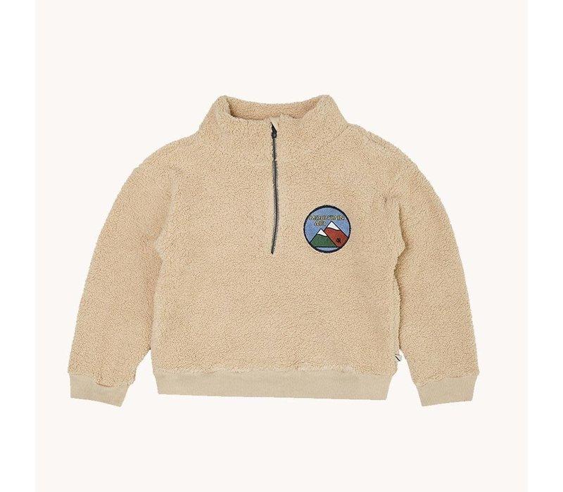 CarlijnQ Mountain Air – teddy sweater wt zipper & embr.