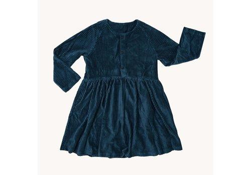 CarlijnQ CarlijnQ Corduroy Teal - dress wt 3 buttons