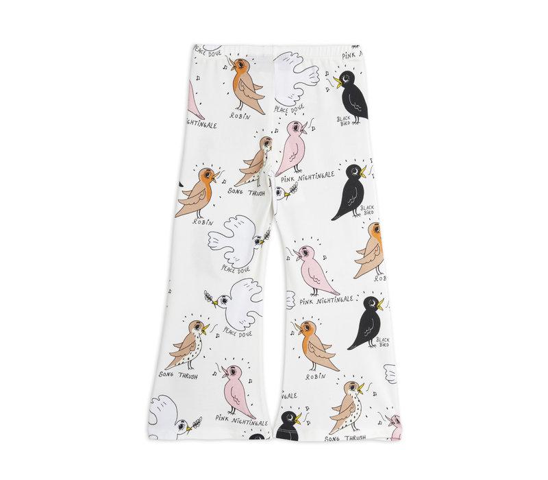 Mini Rodini Birdswatching aop flared trousers Offwhite