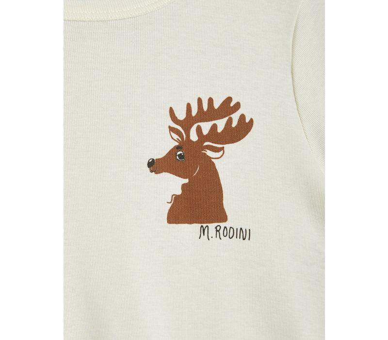 Mini Rodini Deer sp ss tee Offwhite