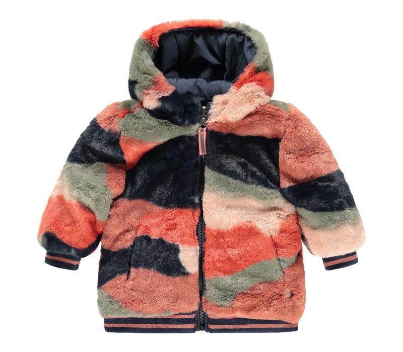 Babyface girls winter jacket reversible blue sea