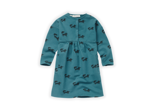 Sproet & Sprout Sproet & Sprout Dress Fox Print Pine Green