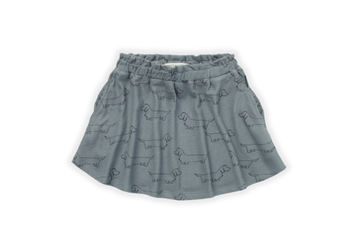 Sproet & Sprout Sproet & Sprout Skirt Sausage Dog Print Lake Blue