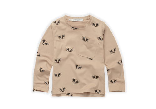 Sproet & Sprout Sproet & Sprout T-Shirt Badger Print  Nougat