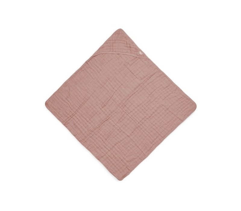 Jollein Badcape wrinkled cotton 75x75cm rosewood