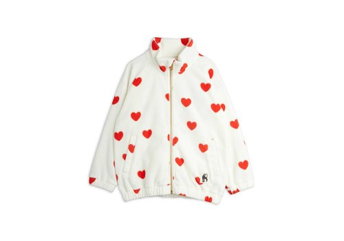Mini Rodini Mini Rodini Hearts fleece jacket Offwhite