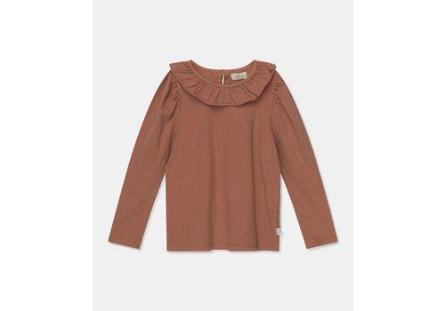 My Little Cozmo My Little Cozmo organic girls t-shirt frill collar Brown