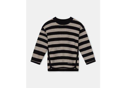 My Little Cozmo My Little Cozmo striped kids sweater recycled Beige Black