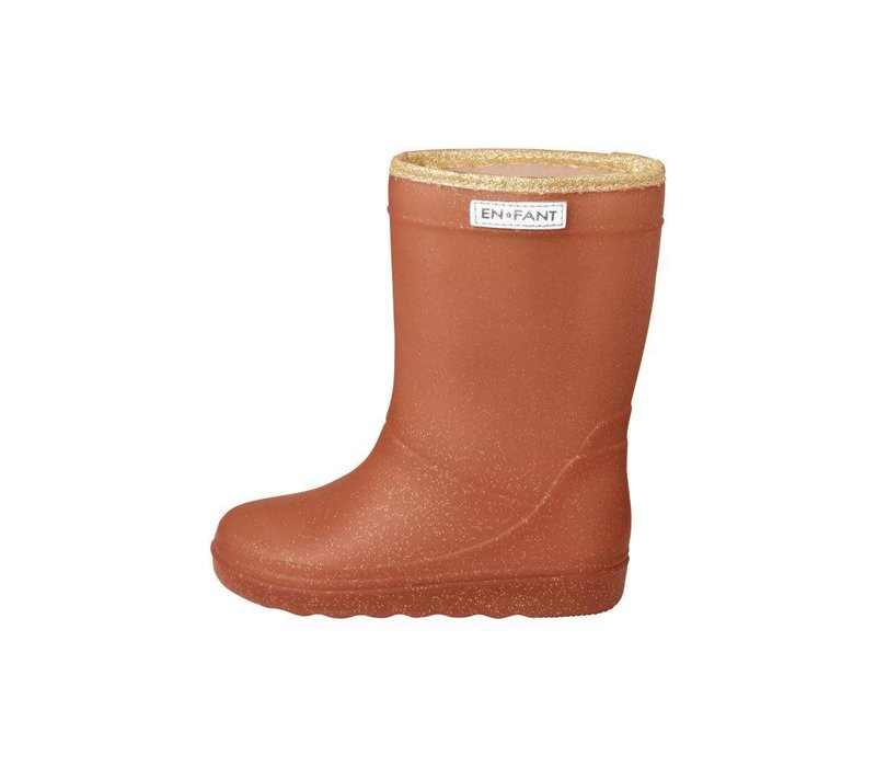 Enfant Leather Brown Thermo Boots Glitter