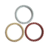 Mushie Siliconen parel armbandjes/bijtringen Mellow Terracotta, Periwinkle