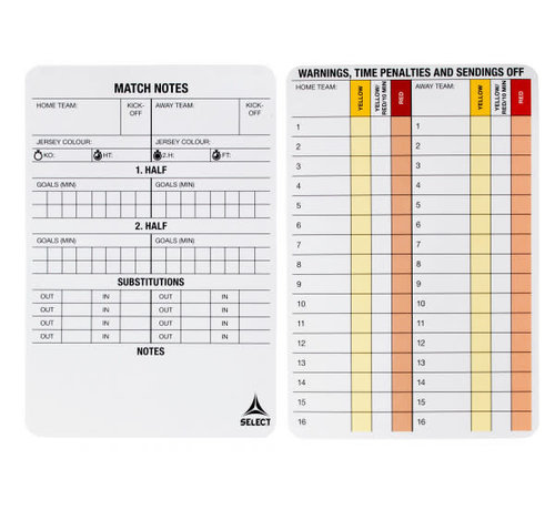 Select Referee Game Cards