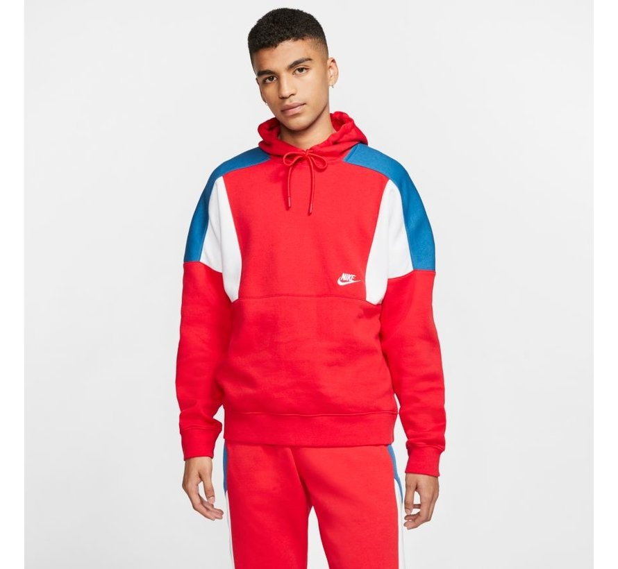 Color-Block Hoodie Red/White