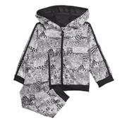 Adidas Shiny Fullzip Hoody Jogging Grey Print
