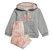 Adidas Logo Fullzip Hooded Suit Grey/Pink Printed