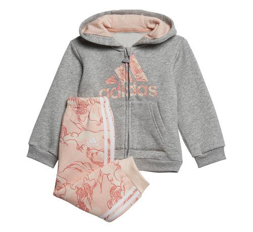 Adidas Logo Fullzip Hooded Suit Grey/Pink Printed