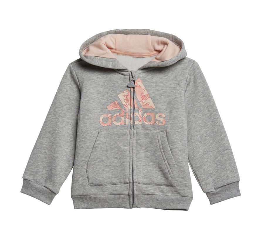 Logo Fullzip Hooded Suit Grey/Pink Printed