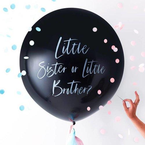 Ginger Ray Gender Reveal Ballon - Little sister or Little brother?