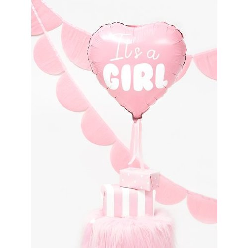 PartyDeco Folieballon It's a girl - meisje - roze