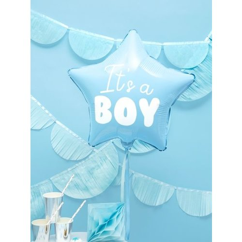 PartyDeco Harten folieballon It's a boy - jongen - blauw