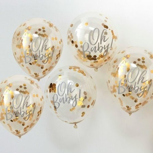 Ginger Ray Confettiballonnen Oh Baby - goud