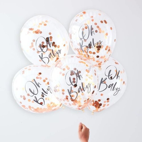 Ginger Ray Confettiballonnen Oh Baby - rose goud