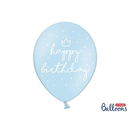 PartyDeco Ballonnen 'Happy Birthday' licht blauw 6 stuks