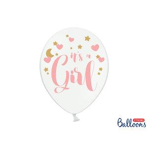 PartyDeco Ballonnen 30cm, It's a Girl, Pastel Pure wit