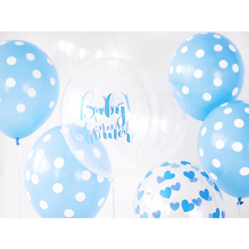 PartyDeco Ballonnen Babyshower blauw doorzichtig 6 stuks