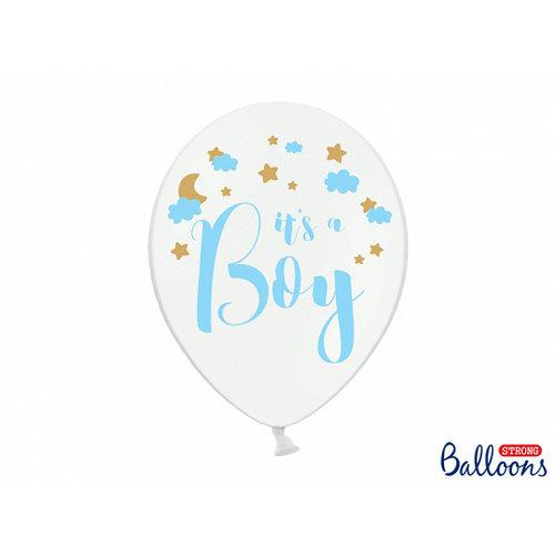 PartyDeco Ballonnen 30cm, It's a boy   Pastel Pure wit