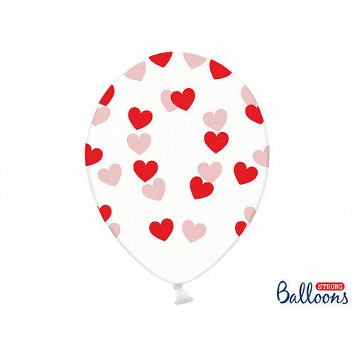 PartyDeco Heliumballon doorzichtig met rode hartjes