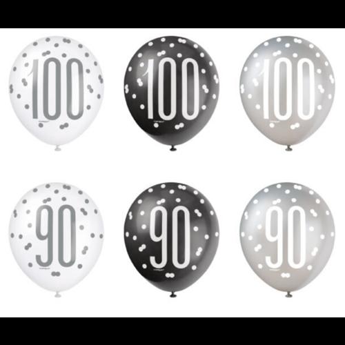 Haza Ballonnen leeftijd - zwart/zilver/wit - 6 stuks