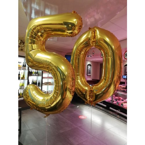 Ballonnendeal Helium cijferballon goud - 86 cm