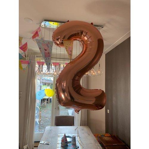 Ballonnendeal Helium cijferballon rose goud - 86 cm