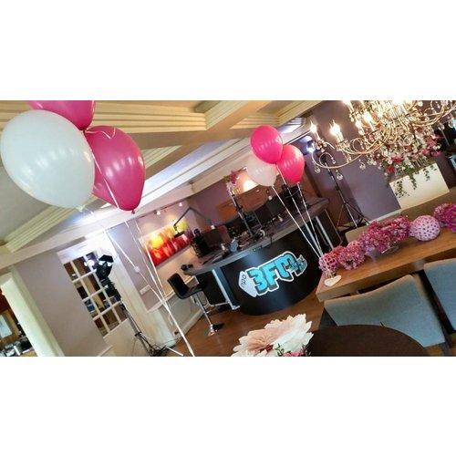 Vloerdecoratie bruiloft 5 ballonnen  - folie hart - hartjes - pastel