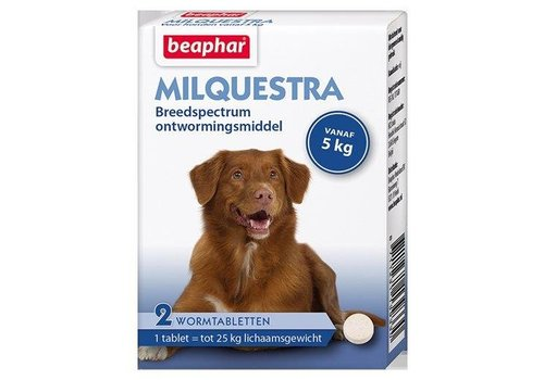Milquestra wormtabletten hond 5+ Kg 2 tabletten