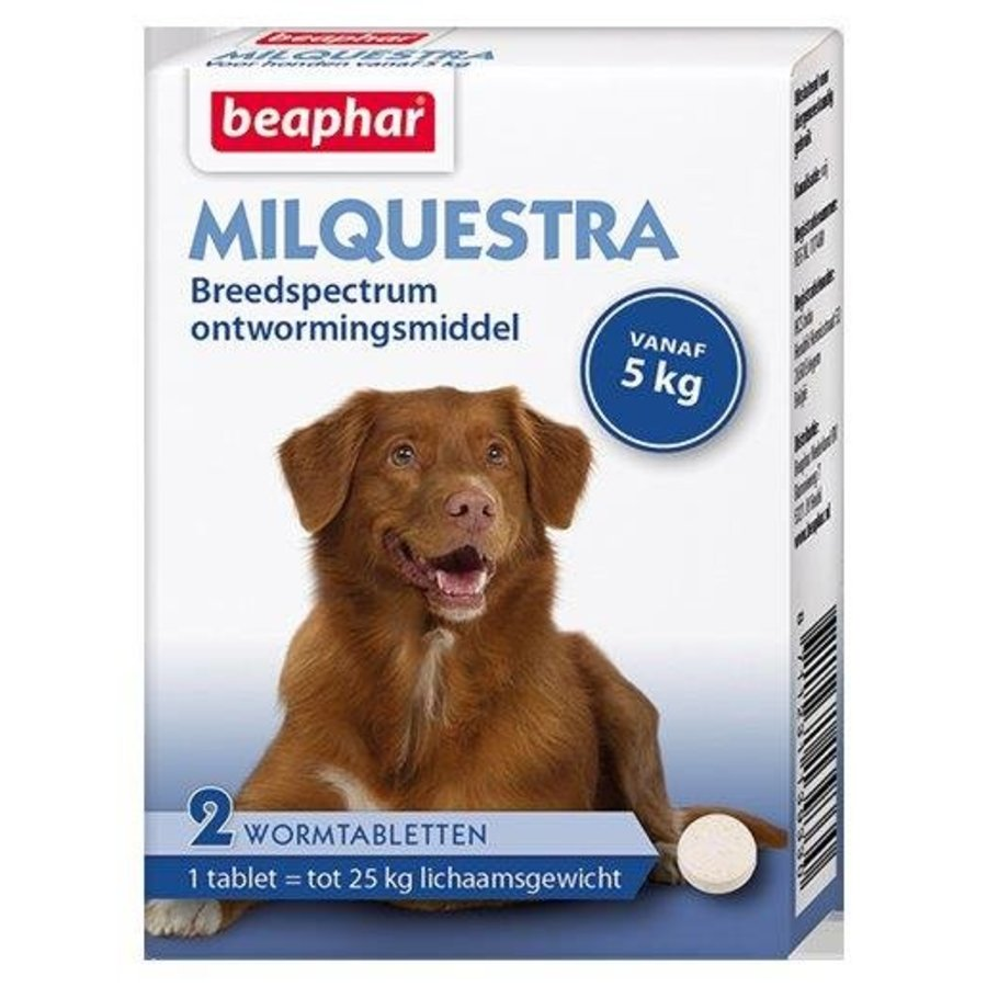 Beaphar Milquestra Dog 5+kg - 2 Tablets-1