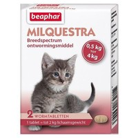 Milquestra wormtabletten kleine kat/kitten 2 st